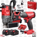"Milwaukee 2787-22 M18 FUEL 1-1/2"" Magnetic Drill w/ Impact Wrench + 2 Batts"