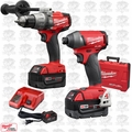Milwaukee 2897-22 Gen 2 FUEL 18v Brushless Hammer Drill Impact Kit 2 XC5.0's