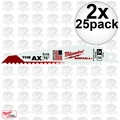 "Milwaukee 48-00-8021 2x 25pk 6"" 5 TPI The Ax Sawzall Blades"