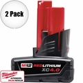 Milwaukee 48-11-2440 2pk 12 Volt M12 Red Lithium 4.0Ah XC Battery