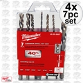 Milwaukee 48-20-8857 4x 7pc Hammer Drill Carbide Bit Kit