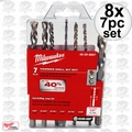 Milwaukee 48-20-8857 8x 7pc Hammer Drill Carbide Bit Kit