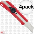 Milwaukee 48-22-1962 4pk 25mm Snap-Off Utility Knife with Metal Lock