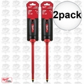 "Milwaukee 48-22-2224 2pk 3/8"" Slotted - 10"" 1000V Insulated Screwdriver"