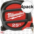 Milwaukee 48-22-5125 4pk 25' Magnetic Tape Measure