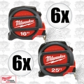 Milwaukee 48-22-5125H 6x 25' & 6x 16' Magnetic Tape Measures