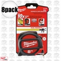 Milwaukee 48-22-5308 8pk 8 Meters Metric Magnetic Tape Measure