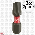 "Milwaukee 48-32-4442 3x 2pk #2 ECX Shockwave 1"" Insert Bits"