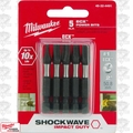 "Milwaukee 48-32-4491 5pk #1 EXC 2"" Shockwave Power Bits"