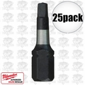 "Milwaukee 48-32-4422 #2 Square Recess Shockwave 1"" Insert Bits"