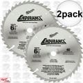 "Milwaukee 48-40-4015 2pk Circular Saw Blade 6-1/2"" 48 Carbide Teeth"