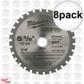 "Milwaukee 48-40-4070 8pk 5-3/8"" x 30 Tooth Ferrous Metal Blade"