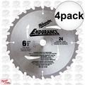 "Milwaukee 48-40-4108 4pk 6-1/2"" x 24 Carbide Teeth Framing/Ripping Blade"