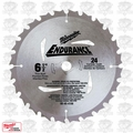 "Milwaukee 48-40-4108 6-1/2"" x 24 Carbide Teeth Framing/Ripping Blade"