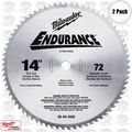 "Milwaukee 48-40-4505 2pk 14"" x 72 Tooth Dry Cut Circular Saw Blade"