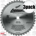 "Milwaukee 48-40-4515 3pk 8"" 42 Tooth Metal Cutting Saw Blade"