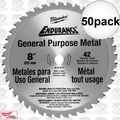 "Milwaukee 48-40-4515 50pk 8"" 42 Tooth Cermet Tip Metal Cutting Saw Blade"