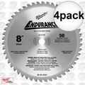 "Milwaukee 48-40-4520 4pk 8"" x 50T Circular Saw Blade"