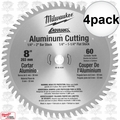 "Milwaukee 48-40-4530 4pk 8"" 60 Teeth Aluminum Circular Saw Blade"