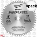 "Milwaukee 48-40-4530 8pk 8"" 60 Teeth Aluminum Circular Saw Blade"