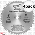 "Milwaukee 48-40-4540 4pk 8""x60T Circular Saw Blade Aluminum Cutting to 1/4"""