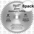 "Milwaukee 48-40-4540 8pk 8""x60T Circular Saw Blade Aluminum Cutting to 1/4"""