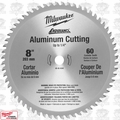 "Milwaukee 48-40-4540 8"" x 60T Circular Saw Blade Aluminum Cutting up to 1/4"""