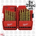 Milwaukee 48-89-0012 8x 29pc Thunderbolt Titanium Drill Bits in Origpkg