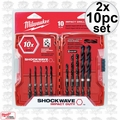 Milwaukee 48-89-4445 2x 10pc Shockwave Shank Drill Bit Set