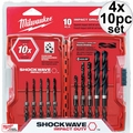 Milwaukee 48-89-4445 4x 10pc Shockwave Shank Drill Bit Set