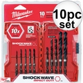 Milwaukee 48-89-4445 10pc Shockwave Hex Shank Drill Bit Set