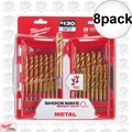 "Milwaukee 48-89-4632 8x 29pc 1/16""~1/2"" Impact Duty Titanium Drill Bit Set"