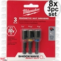 Milwaukee 49-66-4561 8x 3pc Shockwave Magnetic Nut Driver Set