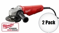 "Milwaukee 6147-30 2pk 11 Amp 4-1/2"" Angle Grinder (Paddle, Lock-On)"