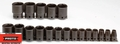 "Proto Tool J74106 1/2"" Drive 19 Piece Impact Socket Set - 6 Point"