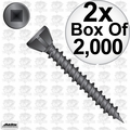 "Quik Drive WSC112S 2x 2000pk 1-1/2"" Square Drive Collated Screws + 2 Bits"