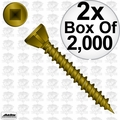 "Quik Drive WSNTL2LS 2x Box of 2000 2"" Square Drive Collated Screws + 2 Bits"
