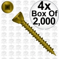 "Quik Drive WSNTL2LS 4x Box of 2000 2"" Square Drive Collated Screws + 2 Bits"