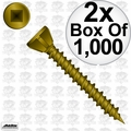 "Quik Drive WSNTL3S 2x Box of 1000 3"" Square Drive Collated Screws + 2 Bits"