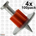 "Ramset 1508 4x Box of 100 1"" Head Drive Powder Fastener"