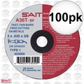 "Sait 23065 100pk 4"" x 3/8"" x 1/16"" Thick Metal Cutting Wheel"