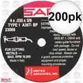 "Sait 23069 200pk 4"" x 3/8"" x .035"" Thin Metal Cutting Wheel"