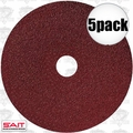 "Sait 50025 5pk 5"" x 7/8"" 100 Grit Resin Fiber Disc for Sanders and Grinders"