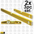 "Stabila 29824 2x 3pc Aluminum Pro Carpenter Level Set 24"" 48"" & Torpedo"