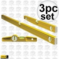 "Stabila 29824 3pc Aluminum Pro Carpenter Level Set 24"" 48"" & Torpedo"