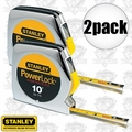"Stanley 33-115 2pk 10' x 1/4"" PowerLock Pocket Tape Measure + Diameter Scale"