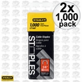 "Stanley CT106T 2x 1000pk 3/8"" Round Crown Cable Staples"