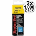 "Stanley TRA706SST 2x 1000 Pack 3/8"" Stainless Steel Narrow Crown Staples"