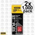 "Stanley TRC604T 2x Box of 1000 1/4"" Wide Crown Heavy Duty Staples"