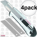 Tajima AC-700S 4pk Silver Rock Hard Aluminist knife, Auto Lock with 3 Blades